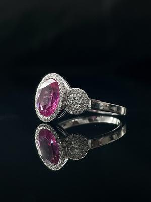 Bague trilogie saphir rose et diamants