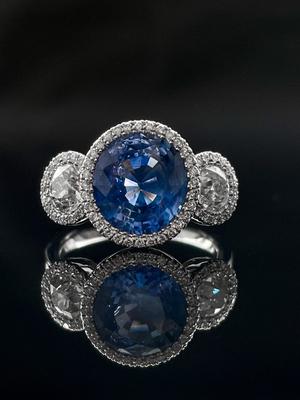 Bague trilogie saphir ceylan et diamants