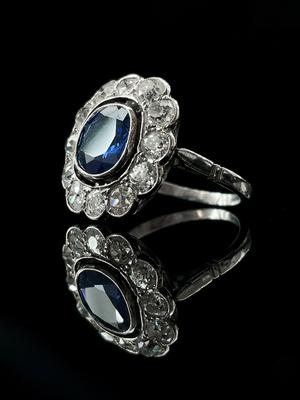 Bague Saphir ceylan et diamants
