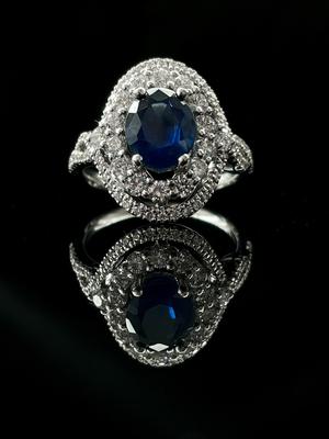 Bague saphir ceylan et double entourage diamants