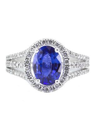 Bague saphir ceylan et entourage diamants
