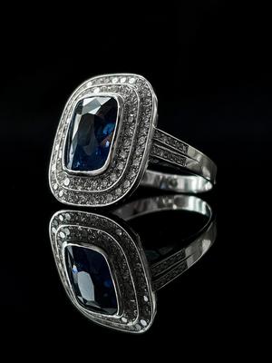 Bague saphir et double entourage diamants