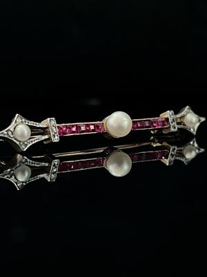 Broche rubis, diamants et perles