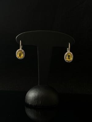 Boucles d'oreilles saphir jaune