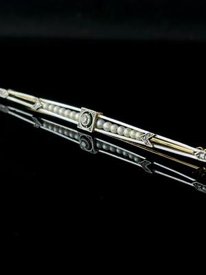 Broche/barrette perles et diamants