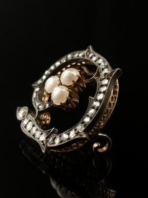Broche diamants et perles
