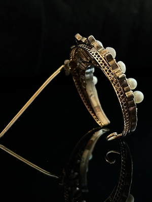 Broche perles et diamants