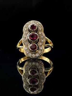 Bague rubis & diamants