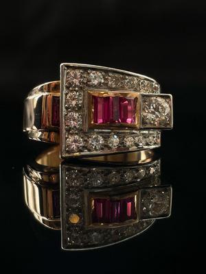 Bague tank rubis & diamants