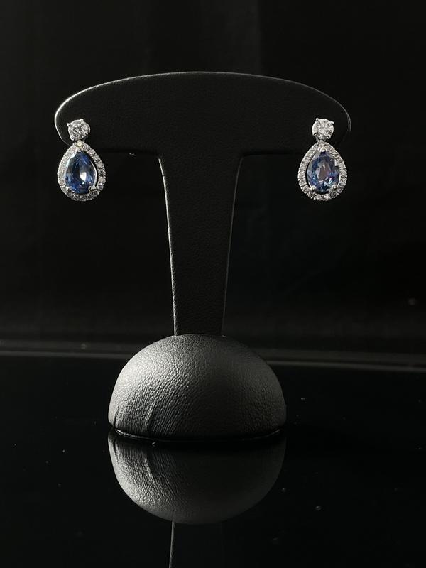 Boucles d'oreilles saphir ceylan et diamants