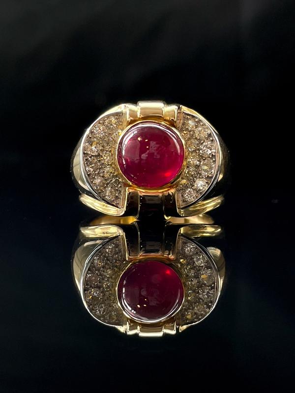 Bague année 50 rubis et diamants