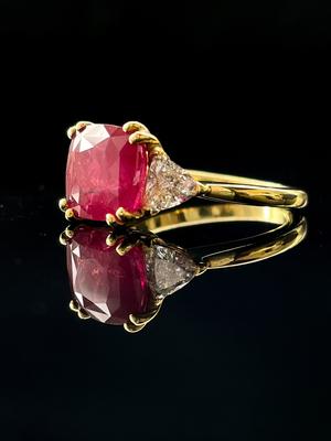 Bague trilogie rubis et diamants