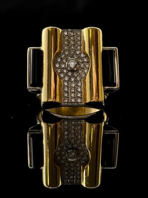 Bague contemporaine onyx et diamants
