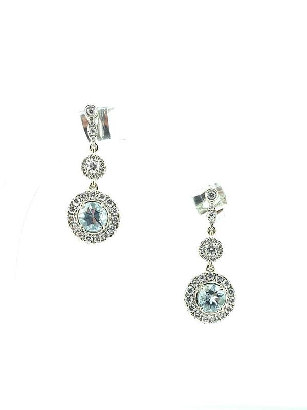 Boucles d'oreilles aigue-marine et diamants