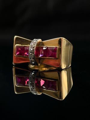 Bague tank rubis et diamants