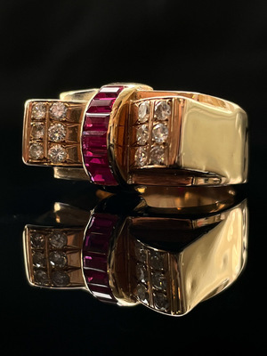 Bague Tank diamants et rubis