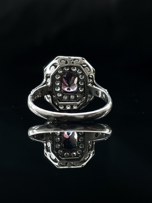 Bague saphir rose et double entourage diamants