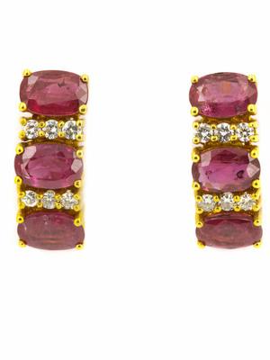 Boucles d'oreilles rubis et diamants